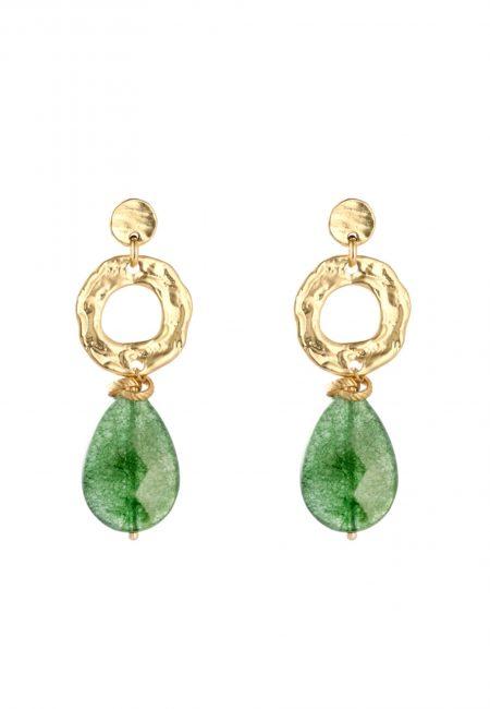 Gouden oorbellen met groene steen