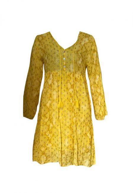 Geel tuniekje met goud printje