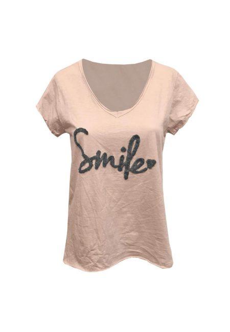 Zandkleurig t-shirt smile