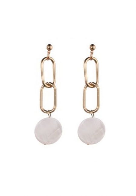 Gouden oorbellen met witte steen