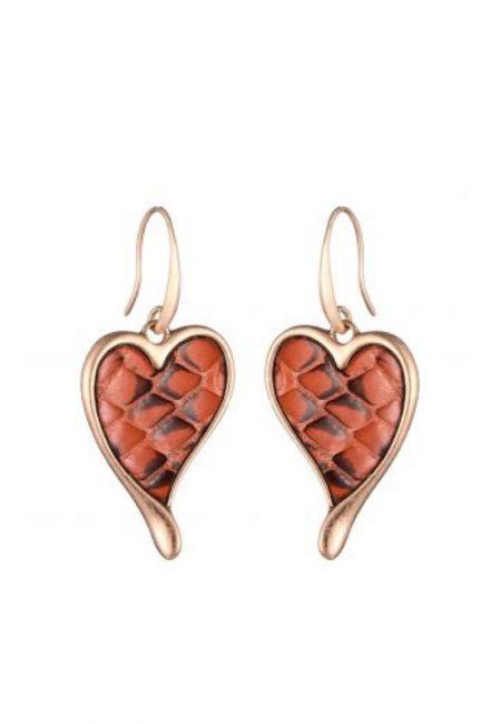 Gouden oorbellen met rood leopard printje in hartje