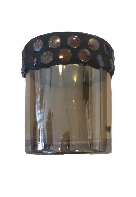Glazen sfeerlichtje met sierrand