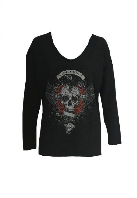 Zwarte sweater met stoere opdruk