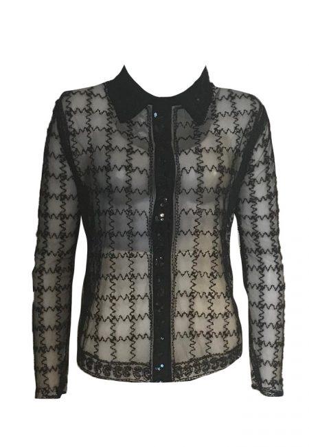 Transparante blouse met zwarte kraaltjes