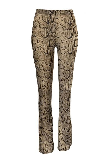 Luxe tricot flared pants python print