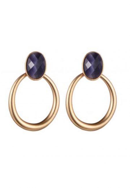Grote gouden oorbellen met paarse steen