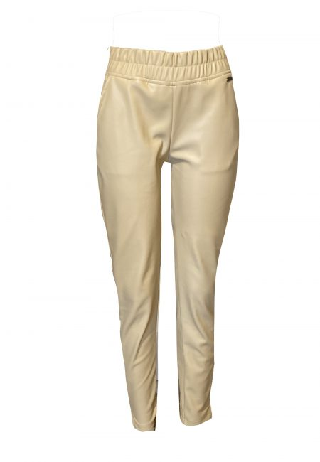 Beige fake leather pants