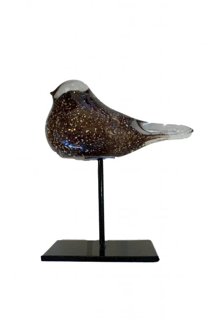 Glazen vogeltje op statief