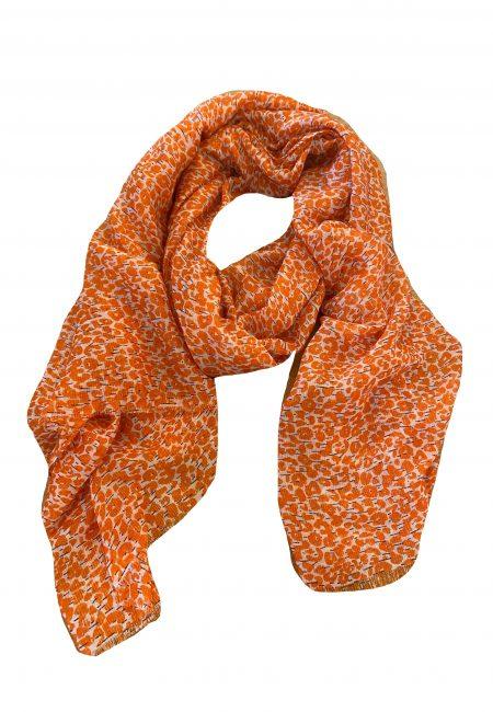 Dunne shawl met oranje printje