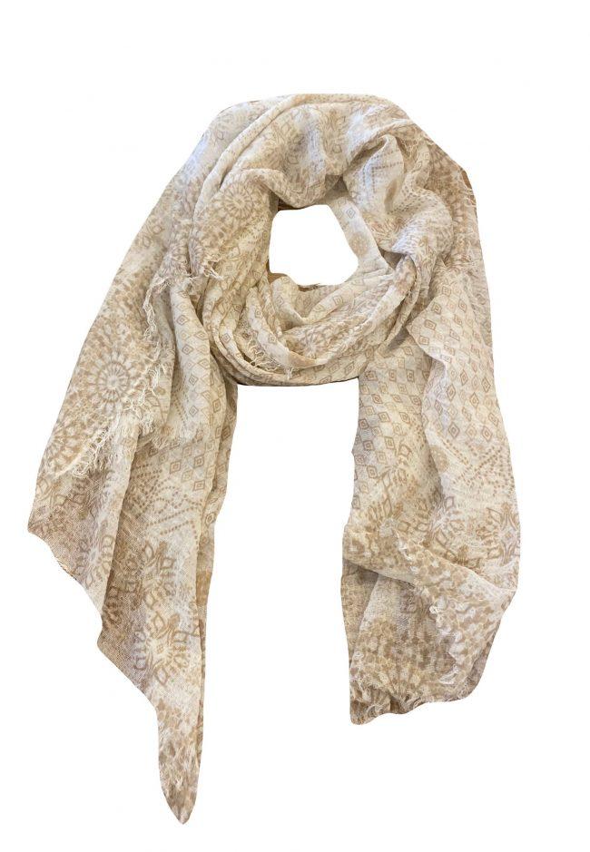 Dunne shawl met beige printje