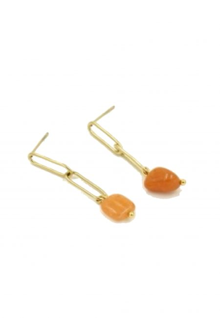 Gouden oorbel met oranje steentje