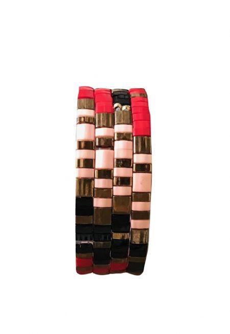 Rood, roze, goud bracelet