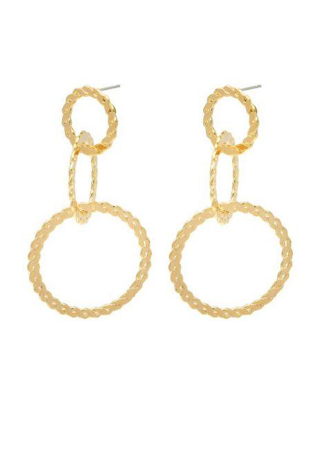 Grote gouden oorbellen met ringen