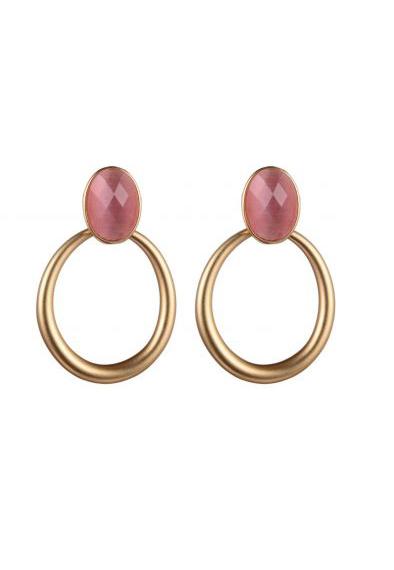 Gouden oorbellen met roze steen