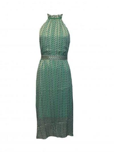 Groene voile halter jurk