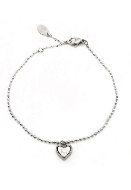 Zilverkleurig armbandje met hartje