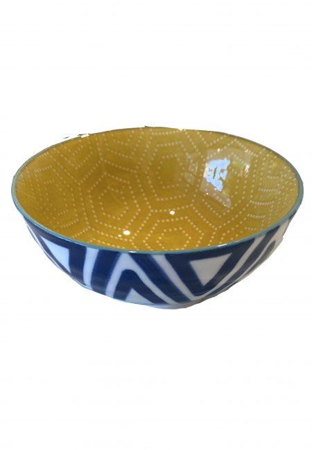 Schaaaltje aardewerk geel blauw
