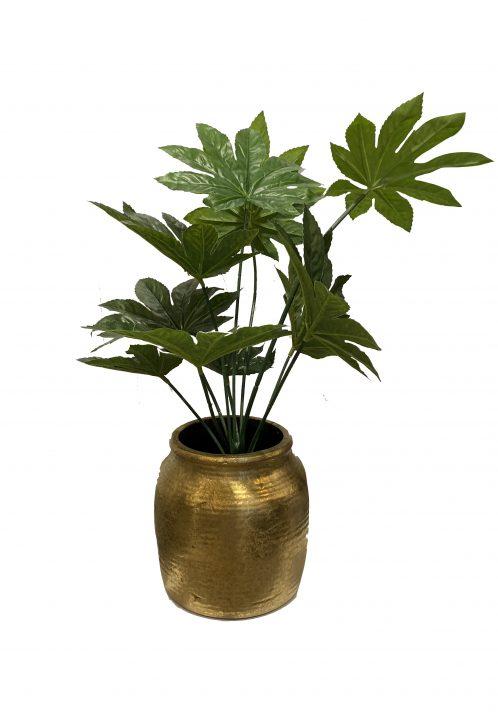 Gouden pot met kunstplant