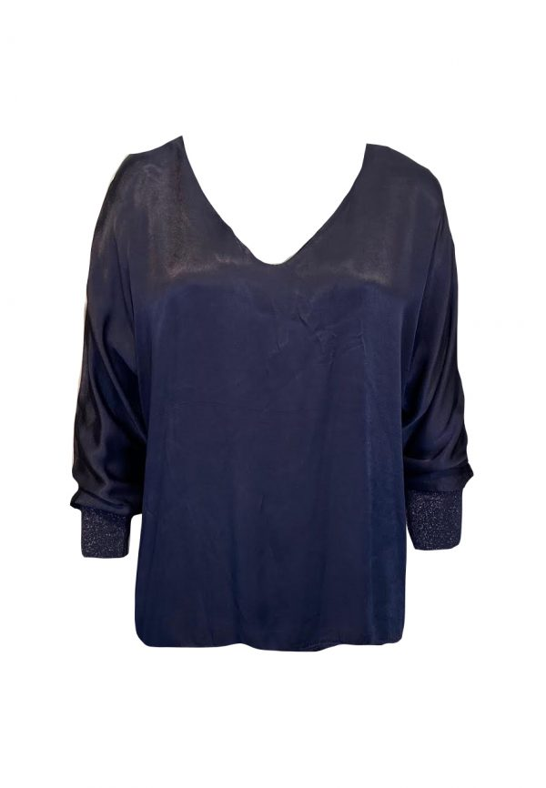 Donkerblauwe glans top