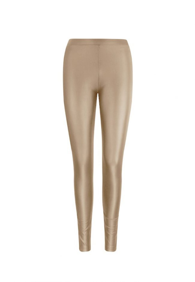 Beige leer look legging