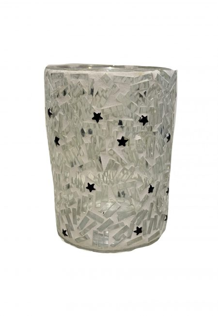 Klein wit mozaïek sfeerlichtje met sterretjes