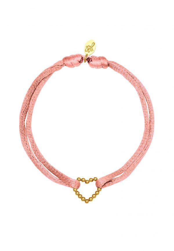 Zijde verstelbaar armbandje met hartje