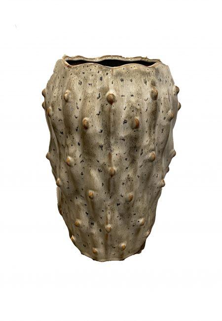 Design aardewerk vaas zandkleur
