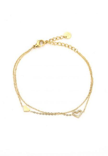 Dubbel goudkleurig armbandje met hartje