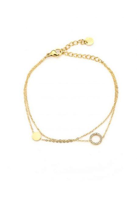 Dubbel goudkleurig armbandje rond bedeltje