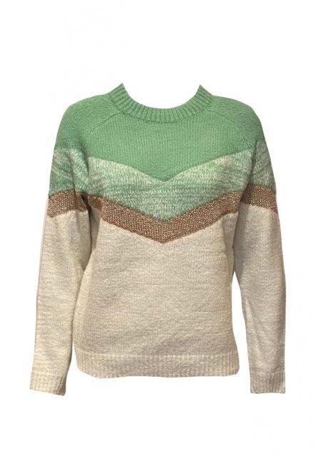 Ecru met groene trui