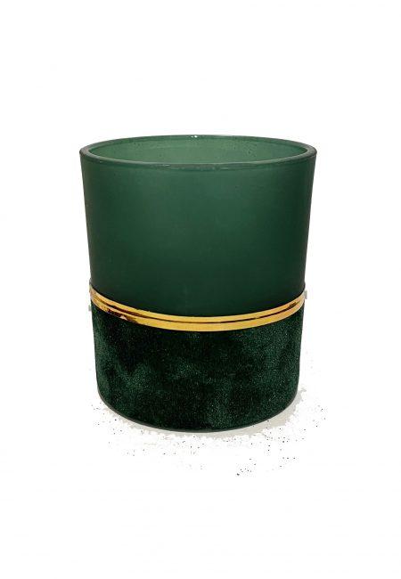 Groen glazen sfeerlichtje met fluweel