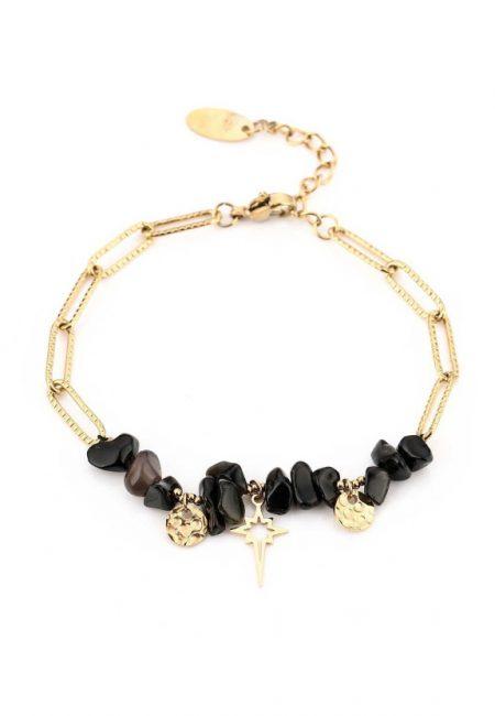 Schakel armbandje met zwarte steentjes
