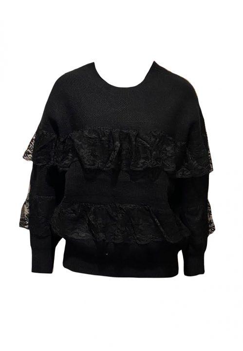 Zwarte trui met volants van kant