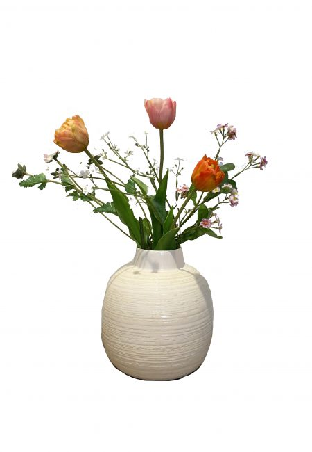 Aardewerk vaas met 6 kunstbloemen, De Leuke Dingen