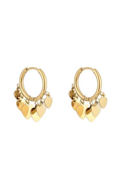 Goudkleurige oorbelletjes met hartjes