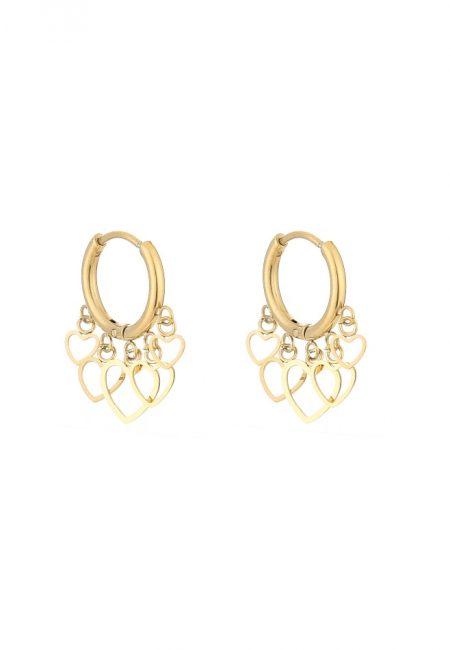 Gouden oorbellen met hartjes De Leuke Dingen
