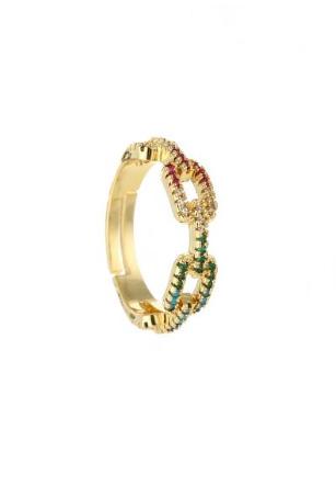 Gouden verstelbare ring met gekleurde steentjes