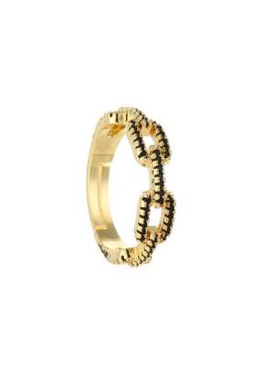 De Leuke Dingen,Gouden verstelbare ring met zwarte steentjes