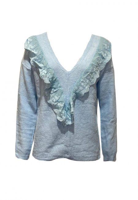 Lichtblauwe v-hals trui met kant