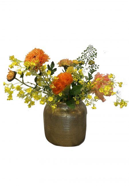 Flowers for ever! Gouden vaas met 6 kunstbloemen