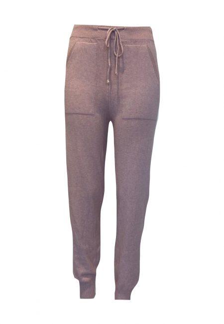 Dun gebreid oudroze comfy broek