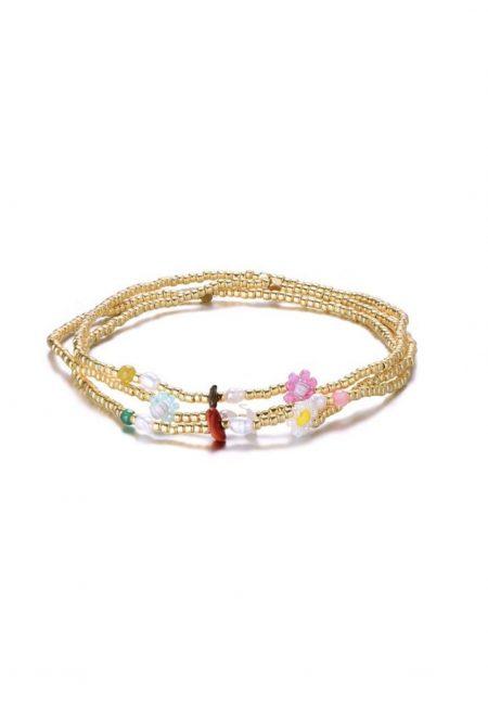 Gouden elastische armbandjes met bloemetjes kraaltjes, De Leuke Dingen