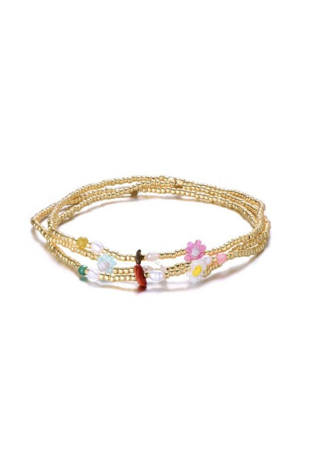 Gouden elastische armbandjes met bloemetjes kraaltjes
