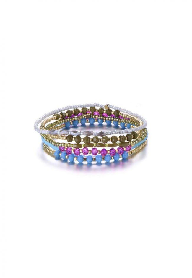 Gouden elastische armbandjes met kraaltjes