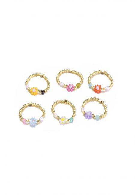 Gouden elastische ringetjes met bloemetjes kraaltjes