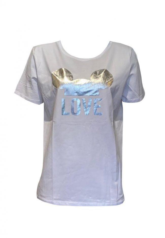 Oversized t-shirt met zilveren Mickey opdruk