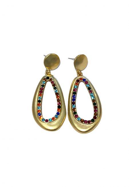 Goudkleurige oorbellen met gekleurde steentjes