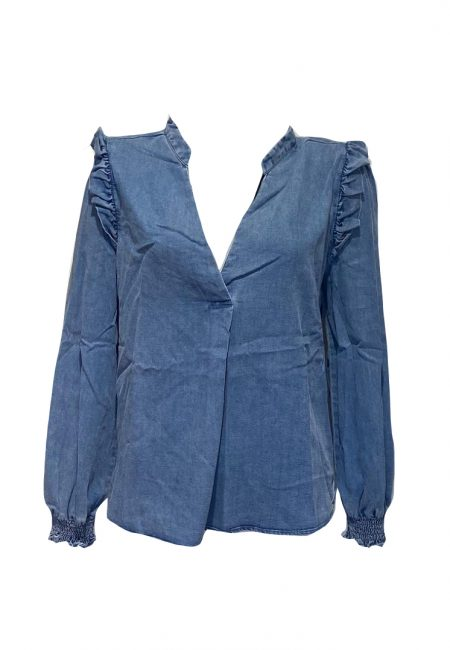 Korte v-hals denim blouse