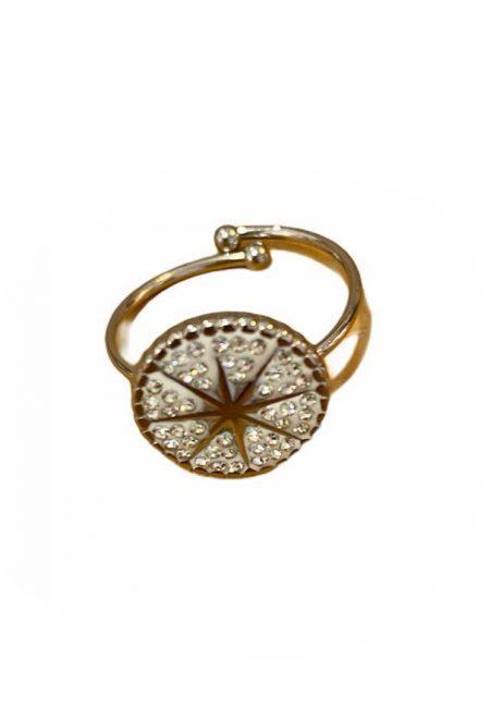 Verstelbare ring met glassteentjes