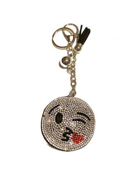 Zilverkleurige sleutelhanger met glitter smile